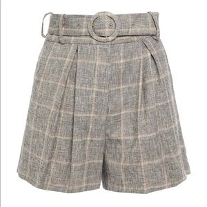SANDRO Beya belted pleated checked woven shorts